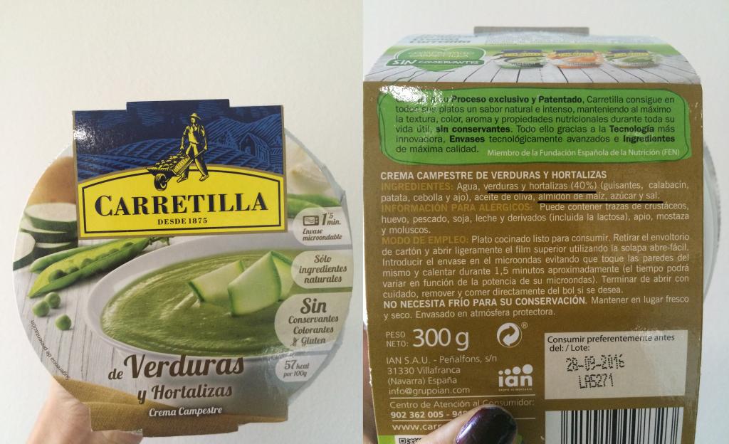 crema verduras análisis etiqueta
