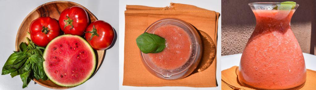 Refresco de tomate, sandía y albahaca