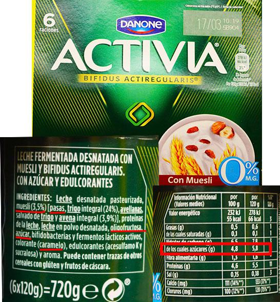 Etiqueta del yogur Activia con muesli