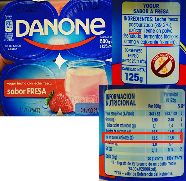 Etiqueta de danone sabor fresa
