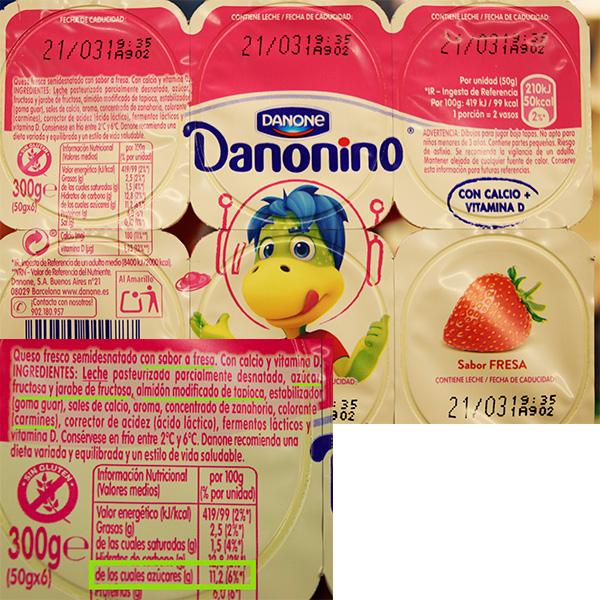 Etiqueta de danonino sabor fresa.