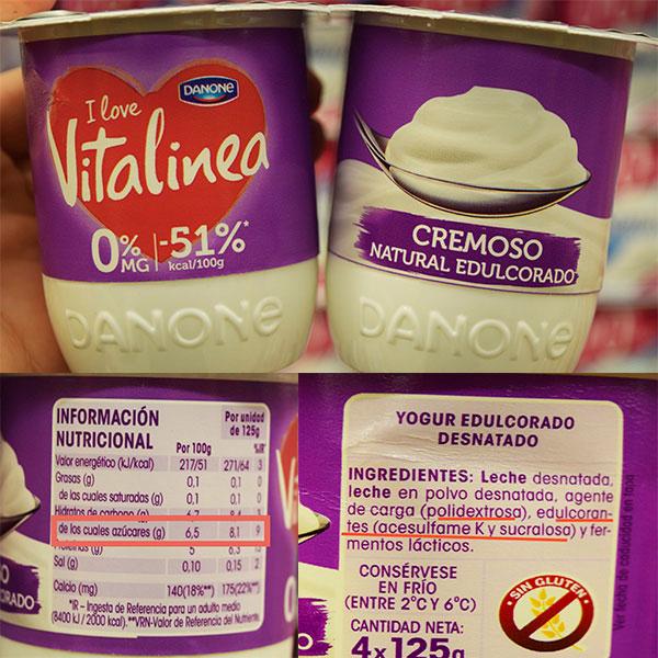 Etiqueta del yogur natural cremoso edulcorado de Vitalinea.