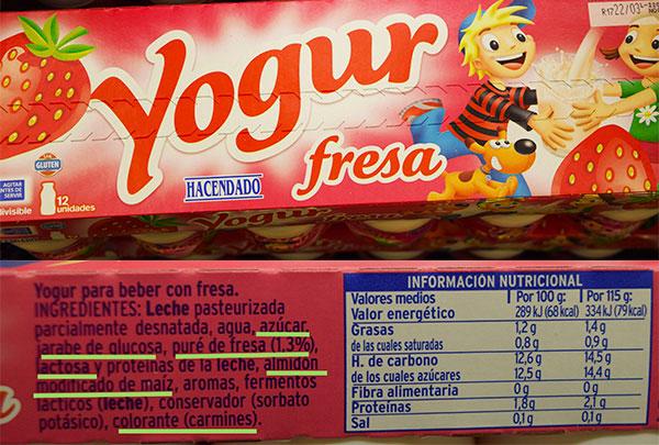 Etiqueta yogur de fresa bebible de hacendado.