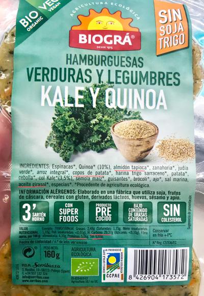 Composición de hamburguesas vegetales con quinoa.