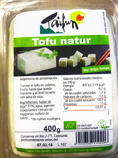 Composición del tofu