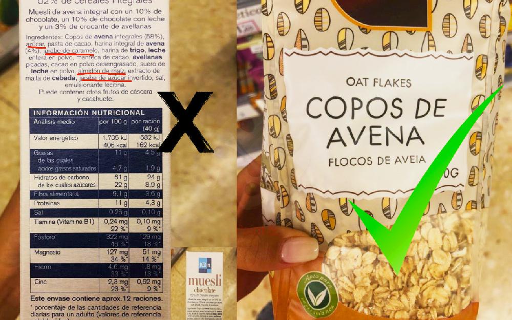 Etiquetas e ingredientes de cereales de avena.