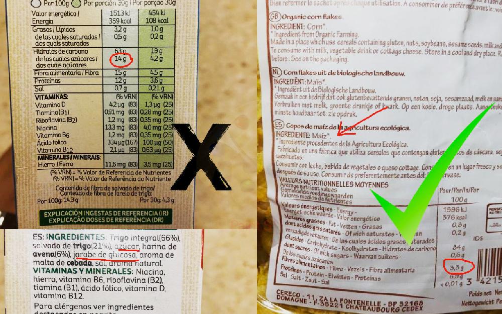 Etiqueta e ingredientes de copos de desayuno.