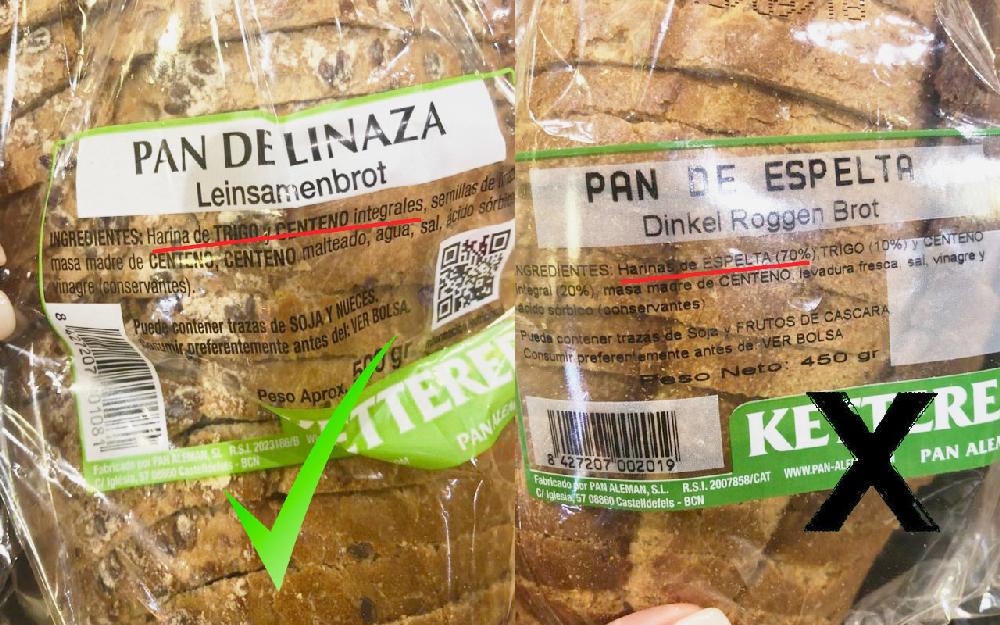 Etiquetas de ingredientes de pan integral vs refinado.